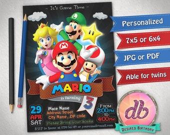 Super Mario Invitation, Super Mario Birthday Party, Luigi, Yoshi, Game, Nintendo, Cartoon, Personalized, Printable, Chalkboard, Digital File