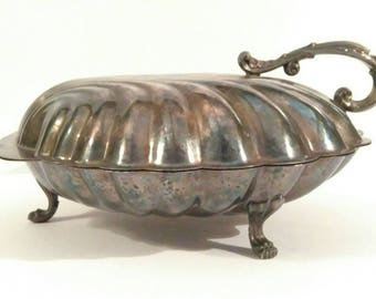Vintage Silver Plated Sheffield Co. Large Clam Shell Hinged Tri-Footed Buffet Serving Dish with Floral Detailed Handle