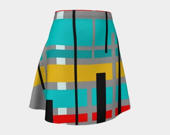 Gray, Skirt, Gift,  For Her, Wife Gift, Womens Skirt, Gift, Retro, Geometric, A-Line Skirt, Womens Gift, Unique, Gift for Women, Turquoise