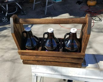 Wood Growler Carrier