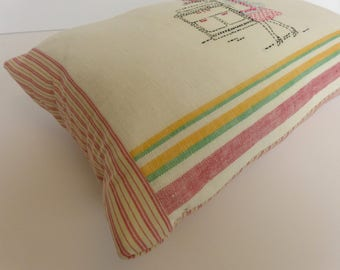 Pillow from Vintage Tea Towel