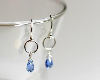 Blue kyanite and sterling silver earrings