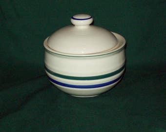 Vintage Blue Band Stoneware Sugar Bowl -- 3 Bands