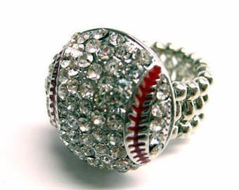 Baseball Ring Bling Rhinestone Crystal