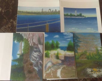 Set of 5 note cards with envelopes 7.5x4.25