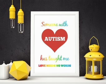 PRINTABLE ART | Someone With Autism |  Printable Quote | Inspirational Quote | Wall Art | Typography Art | Wall Decor | Instant Download