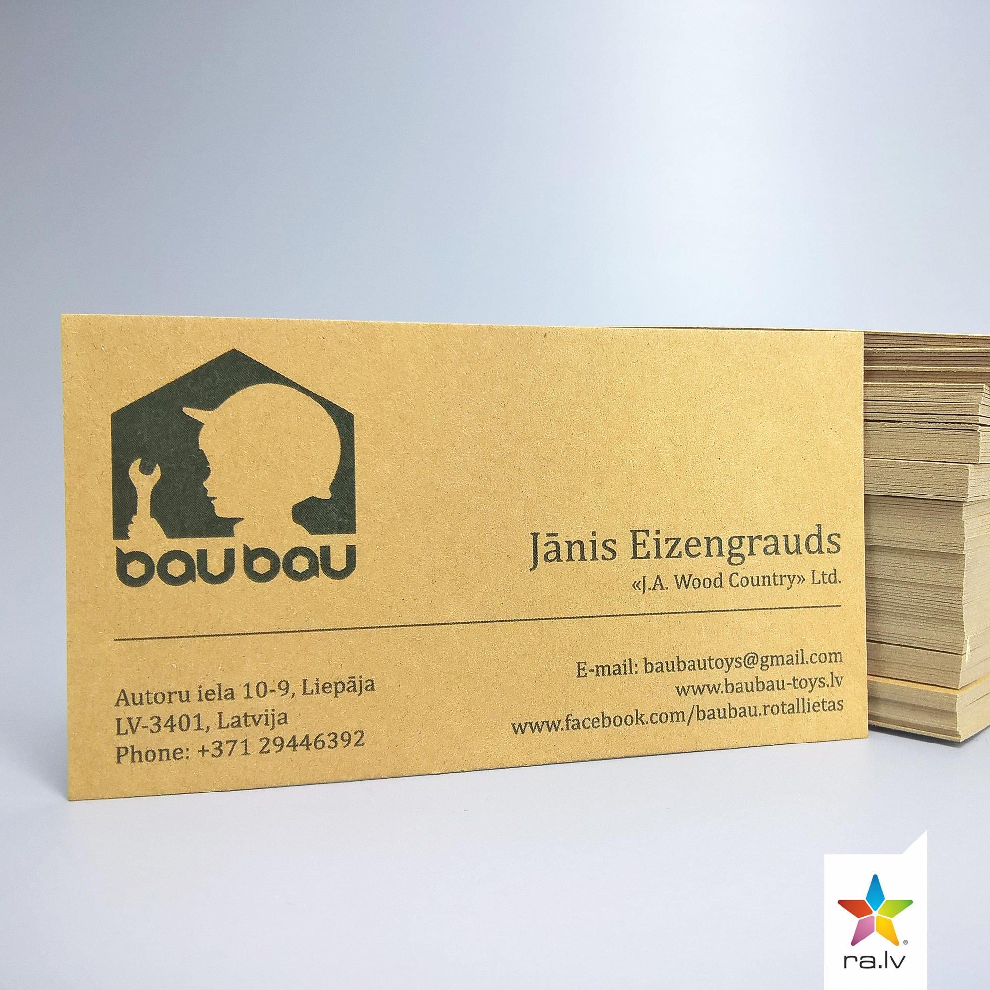 Custom eco business cards - craft paper business card set of 100 ...