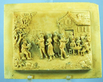 Antique Alabaster decorative Plaque