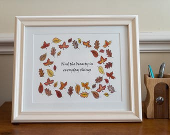 Framed autumnal print- find the beauty in everyday