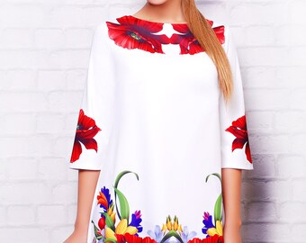 Charming stylish bright dress for fashionistas.For slim and full ladies. Spring dress with bright colors of summer.Colorful flowers. Poppies
