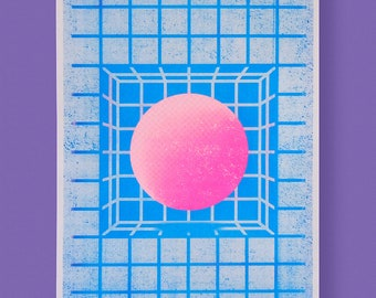 A3 Abstract Geometric Risograph Print