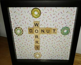 "Donut Worry Scrabble Picture in a 8""x8"" Black Shadowbox"
