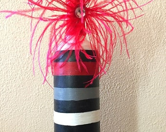 Striped Hand Painted Wine Bottle with Accent Flower Decoration