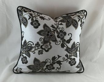 charcoal/white woven floral, piped  cushion cover