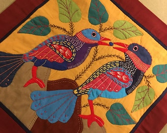 Free Form Quilted & Embroidered Pillow Case with bird images