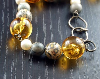 Amber necklace and Jasper