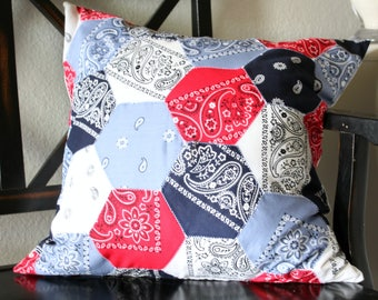 Red White and Blue Bandana Pillow Cover