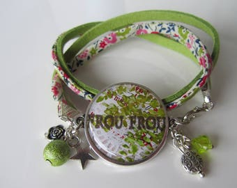 "Bracelet ""Frou Frou"" double wrist cuff suede and liberty (Ref: 008)"