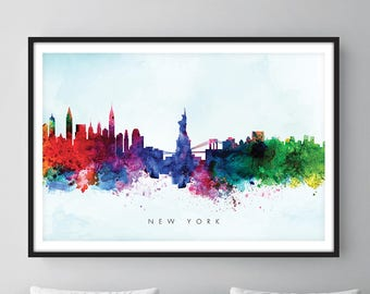 New York Skyline, NYC Cityscape, Art Print, Wall Art, Watercolor, Watercolour Art Decor [SWNYC03]