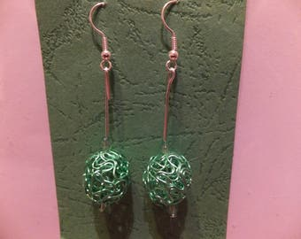 Silver plated drop beaded earrings