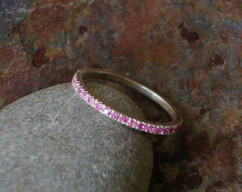 Pink Sapphire Stacking Ring - Sapphire Eternity Ring - Silver Stacking Ring - Pink Eternity Ring - Pink Sapphire Ring