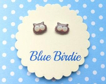 Owl earrings owl jewelry owl jewellery tiny owl stud earrings cute owl face jewellery owl gift owl studs