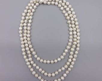 """60"""" Cultured fresh water pear necklace"""