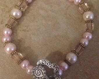 Handcrafted faux pearl and pink crystal bracelet plus free gift