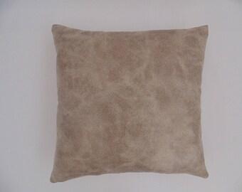 Decorative Tan Faux Leather Pillow Cover