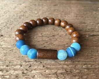 8mm Blue Sardonyx stone beaded bracelet wood bead bracelet stretch bracelet boho bracelet gift for her jewelry