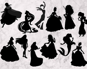 Disney Princess Svg, Disney Princesses clipart, 15 Disney princess SVG, EPS files. Princess Silhouettes, Cutfiles, Printable princesses PNG.
