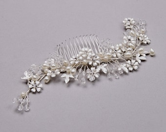 Silver Bridal Hair Comb, Wedding Hair Comb, Silver Hairpiece