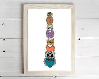 Wise Owls - Unframed Art Print, Owl Drawing, Nursery Picture, Animal Wall Art, Children's Decor, Kid's Bedroom.
