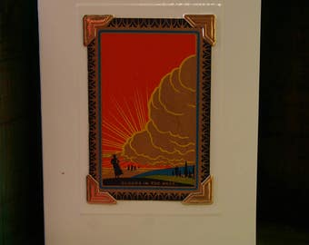 Handmade greetings/birthday card. Genuine vintage playing card, 1930s Art Deco sunburt & clouds