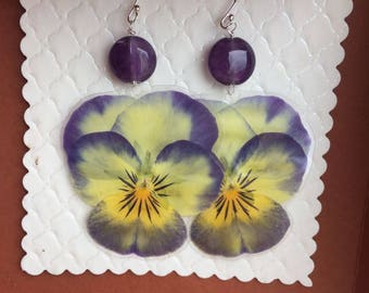 Earrings 925 Silver Amethyst/genuine/violets real flowers pressed flower//birthday/spring