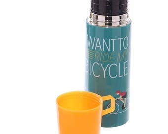 I Want To Ride My Bicycle Flask | Gift | Present | Hot Drink
