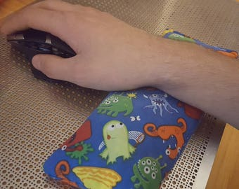 Custom Mouse Pad Wrist Rest Support for Desktop PC Computer USA MADE Also for heat pack microwaved and cold pack if put in freezer