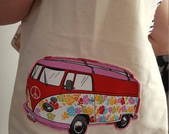Calico shopping bag, with appliqued camper van.