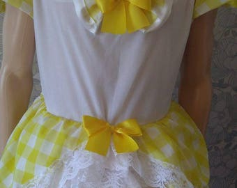 This beautifulhand made yellow gingham and white frilly drees with yellow silk ribbon and lace
