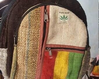 Hemp Backpack - Laptop Backpack - 3 Front Pocket Rasta