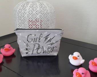 """Makeup / pouch / clutch / handmade / gift woman / clutch """"Girl Power"""" gray"""