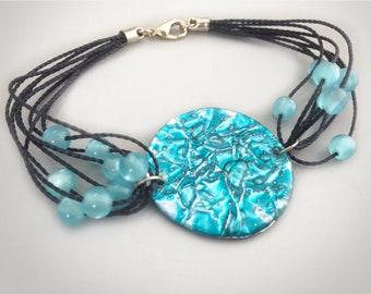 Upcycled Bracelet Sky blue color Beaded Bracelet Circular Bracelet made with CD's