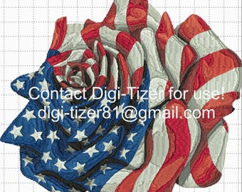 American Flag Rose Digitized Embroidery
