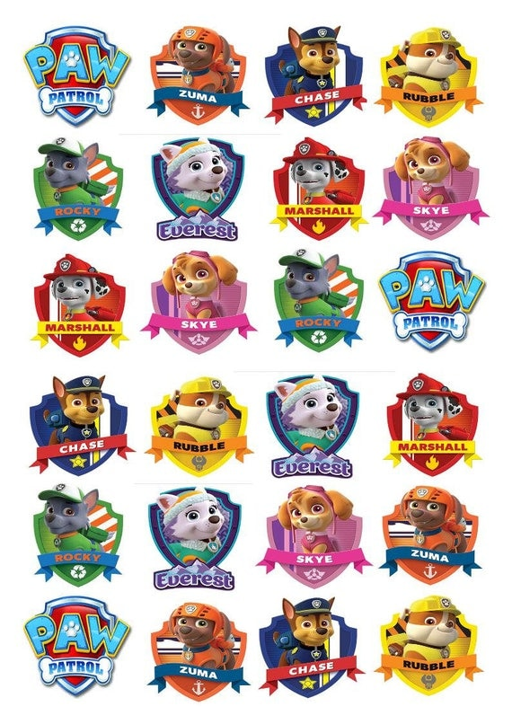 24 X Paw Patrol Characters Edible Rice Fairy Paper Cupcake