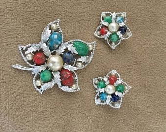 Sara Coventry Brooch and Matching Earrings