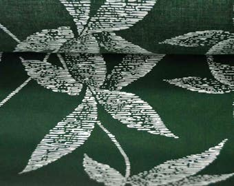 Leaf print fabric, Dark green Sateen cotton fabric, African print fabric by the yard, sewing fabric