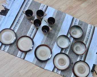SANGO | Nova Brown Ceramic Partial Set | Sango Glazed Plates, Bowls, Mugs