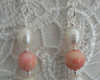 These earrings. Coral and Freshwater Pearl on silver