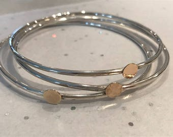 Set of 3 Sterling Silver Hammered Bangles with 9ct Gold Detail