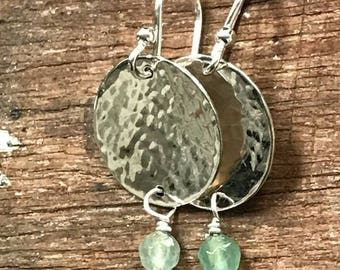 Sterling Silver Disk Earrings with Aventurine Gemstone and Hammered Finish